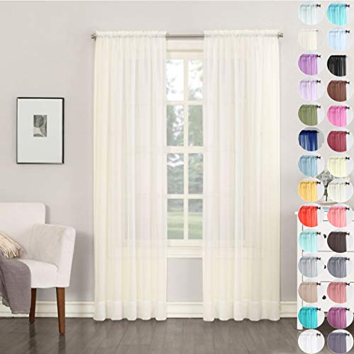 Megachest Woven voile sheer Slot Top 56' wideX90 drop Curtain 2 Panels with 2 ties (28 colors) (Ivory, (W142cmXH228.5cm))