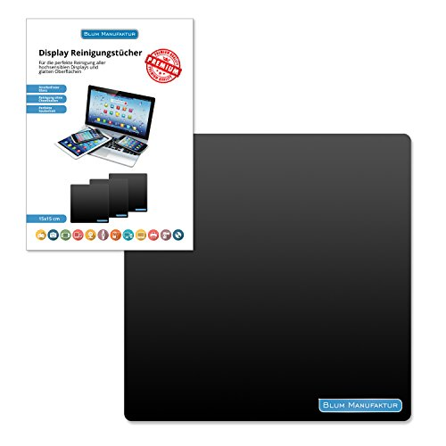 Blum - Display-Reinigungstuch 15x15 cm - für die perfekte Reinigung von Bildschirm | Brille | Computer | Display | iMac | Kamera Objektiv | Laptop | Monitor | Notebook | Smartphone | Sonnenbrille | Spielkonsole | Tablet | TV | VR Brille und mehr.
