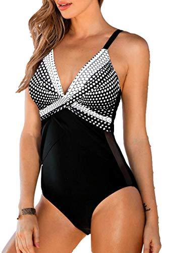 Leslady Damen Badeanzug mit Tiefem V-Ausschnitt Figurformender Große Größe Einteiliger Schwimmanzug für Bauchweg, Weiß Punkt, EU 40-42 (L)