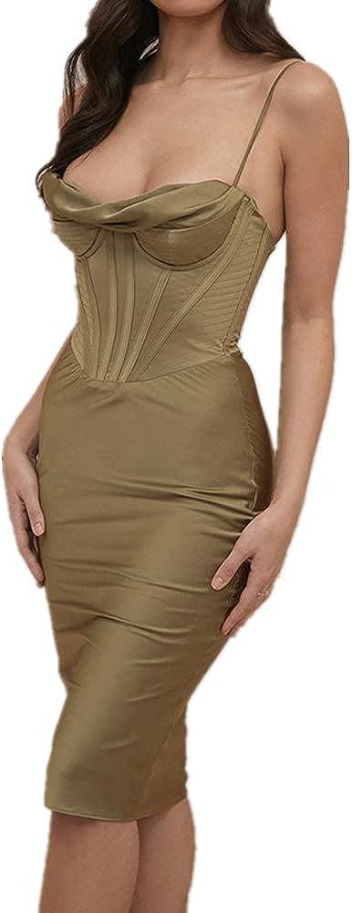 NP Summer Solid Color Sling Folds Strapless Slim Bag Hip Dress Women