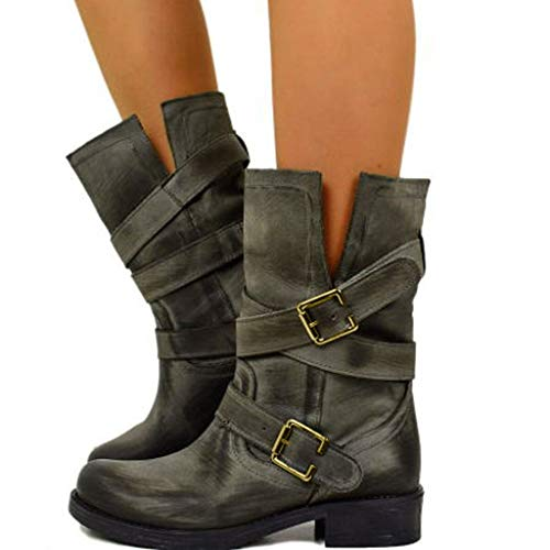 Swiusd Women's Strap Buckle Mid Calf Boots Retro V Cut Low Heel Knight Boots Closed Toe Combat Style Comfy Waterproof Western Shoes (Gray, 7.5)