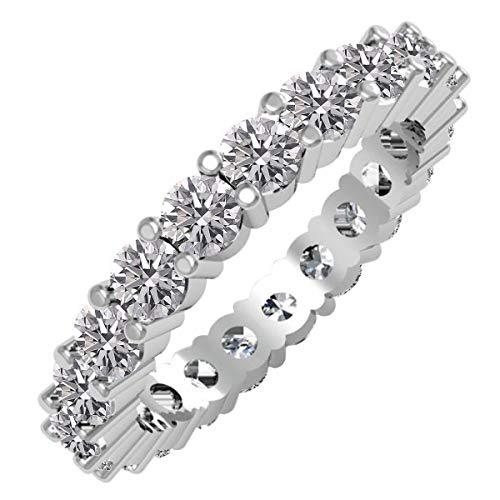 Dazzlingrock Collection Anillo de boda apilable de 2 quilates de diamante redondo cultivado en laboratorio para mujer, de 2 quilates, disponible en metal de oro de 10 K/14 K/18 K