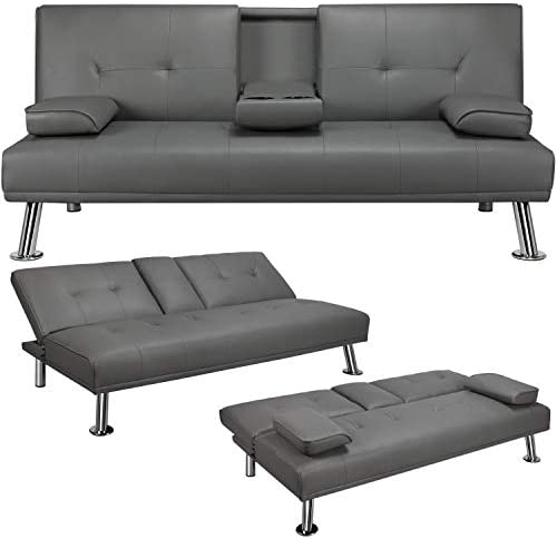 YAHEETECH Futon Sofa Bed Faux Leather Futon Couch Sleeper Sofa Convertible Sofa Couch Bed with product image