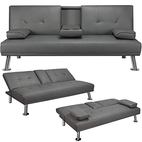 YAHEETECH Convertible Sofa Bed Adjustable Couch Sleeper Modern Divets Faux Leather Home Recliner Reversible Loveseat Folding Daybed Guest Bed, 2 Cup Holders, 3 Angles, 772lb Capacity, Gray