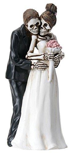 YTC 6.25 Inch Skeleton Couple with Wedding Bouquet - Posing Figurine