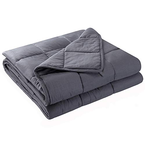 Anjee Weighted Blanket | Premium Heavy Blanket | 100% Eco-Friendly Cotton Material with Silica Beads for Better Sleep & Relaxing (48 x 72 Inches, 12 lbs for 100-150 lbs Individual, Grey)