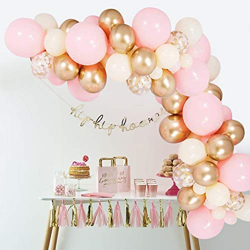 Balloon Arch Kit, Pink Balloon Garland Kit, 100pcs Birthday Balloon Including Gold, Ivory & White Gold Confetti Balloons Decorations for Boy Girl Birthday Party, Wedding Bridal Engagement Baby Shower