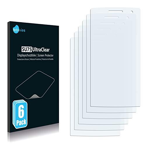 Savvies 6X Schutzfolie kompatibel mit Oppo Find 7 Mini R6007 Bildschirmschutz-Folie Ultra-transparent