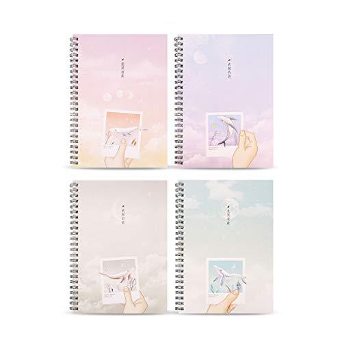 LLKK Cuaderno,Bloc de Notas de Oficina,Diario,Papel Kraft de Engrosamiento Efectivo A5,Cuaderno de Ejercicios en Espiral,Trabajo (4 Paquetes)