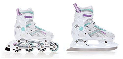 Raven 2in1 Schlittschuhe Inline Skates Inliner Pulse White/Blue/Violet verstellbar Größe: 33-36 (20,5-23cm)
