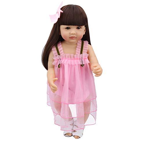 Bonecas bebê Reborn de 55 cm, vinil de silicone macio, realista, realista, boneca recém-nascida, corpo inteiro, vestido rosa, brinquedo infantil feito à mão para crianças a partir de 3 anos, presentes de Natal/aniversário
