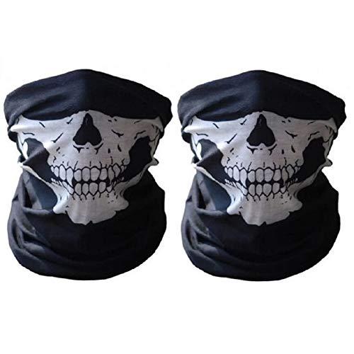 Motorradmaske im Totenkopf-Design, Halbmaske, Hals, Kopfbedeckung, Outdoor, Ski, Schädel, Party, Masken, Sport, Halloween, Maske für das Motorradfahren,2Stück