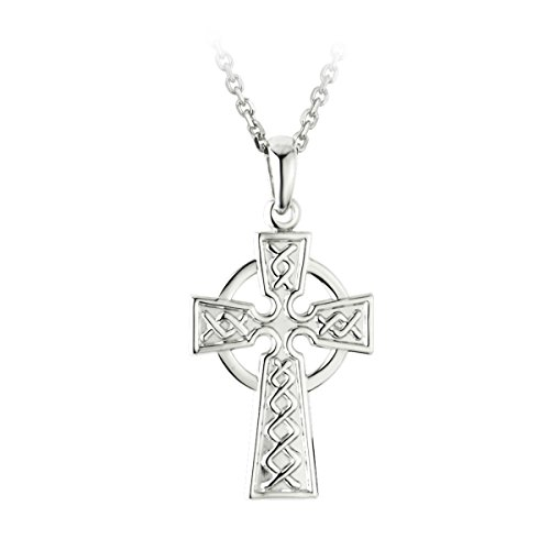 Failte Celtic Cross Necklace for Men Sterling Silver 2 Sided Made in Ireland
