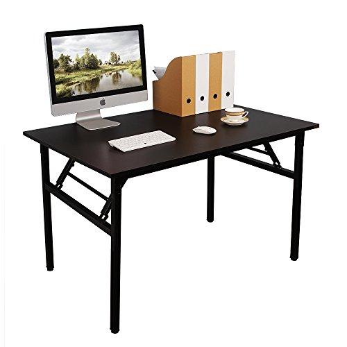 DlandHome Mesa Plegable Mesa de Ordenador Escritorio de Oficina 100x60cm Mesa de Estudio Puesto de Trabajo Mesas de Recepción Mesa de Formación,Negro