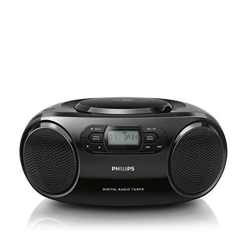 Philips CD-Player AZB500/12 Lettore CD, Radio DAB+ (DAB+/UKW, Dynamic Bass Boost, Riproduzione CD, Funzione shuffle/repeat, Entrata audio da 3,5 mm) Nero (Modello 2020/2021)