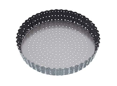 masterclass Crusty Bake Antihaft-Tortenbodenform/Quicheform mit gewelltem Rand und losem Boden, Stahl, Grau, 23 x 23 x 4.2 cm