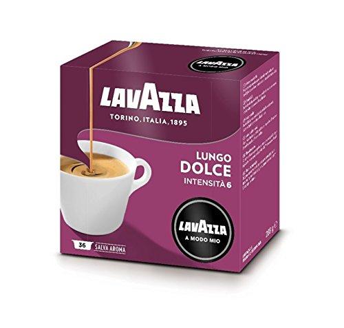 Lavazza A Modo Mio Café Crema Lungo Dolce, 100% Arabica, Paquet de 36 capsules monodoses de café moulu