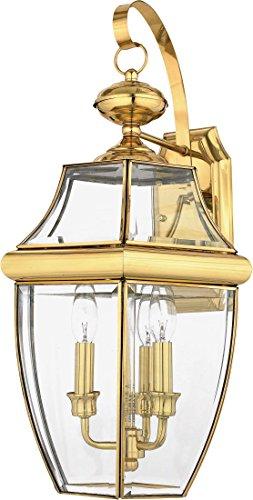 Quoizel NY8318B Newbury Outdoor Wall Lantern Wall Mount Lighting, 3-Light, 180 Watts, Polished Brass (23