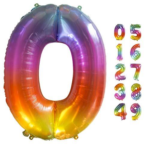 Globo Gigante Multicolor Numero de Cumpleãnos 0 I 101 CM Globo Años I Globo Numero 0 I Decoracion Fiesta Cumpleaños Niños I Globos Numeros Gigantes para Fiestas I Hinchar con helio o aire (Numero 0)