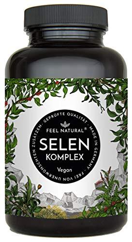 Selen Komplex - 200µg Selen je Tablette - Premium mit 3 Selenformen: Natriumselenit, L-Selenmethionin, Selenhefe - 365 Tabletten im Jahresvorrat - Ohne unerwünschte Zusätze, hergestellt in Deutschland