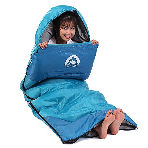 Sleeping Bag 3 Season (Summer, Spring, Fall) Warm & Cold Weather - Lightweight,Waterproof Indoor & Outdoor Use for Kids, Teens & Adults for Hiking,Backpacking and Camping (Sky Blue, Single)
