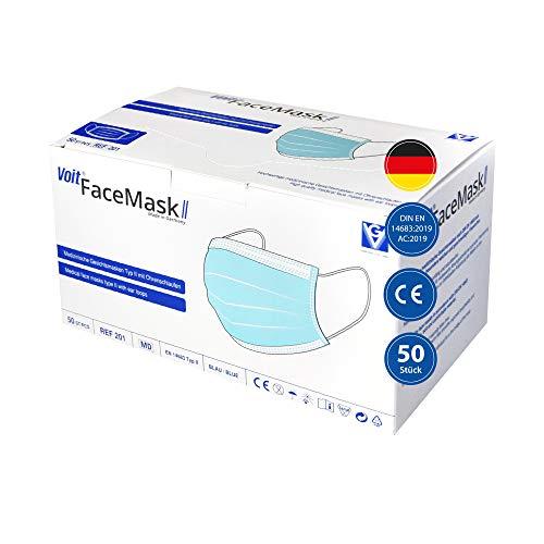 Voit Medizinische Gesichtsmaske Typ II, 50 Stück, 3-lagig, Einwegmasken, Atmungsaktive Mund-Nasen-Masken mit Ohrenschlaufen, Made in Germany