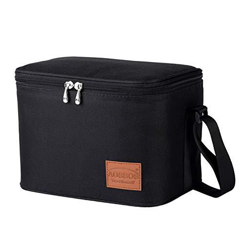 Kühltasche Klein Leicht Lunch Tasche Isoliertasche zur Arbeit Schule Faltbar Wasserdicht Reißverschluss Schwarz 7,5L
