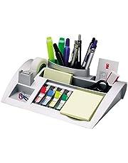 Post-it tafel-organizer, zilver-metallic, bureauorganizer met 7 vakken, incl. post-it plaknotities, 4-kleurige post-it index plakstrips & Scotch plakband