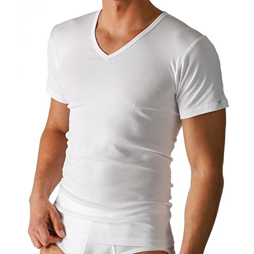 Mey 2er Pack Herren T-Shirt - Noblesse - 2807 - Farbe Weiß - Größe 7 - V-Neck Shirt - Unterhemd V-Ausschnitt