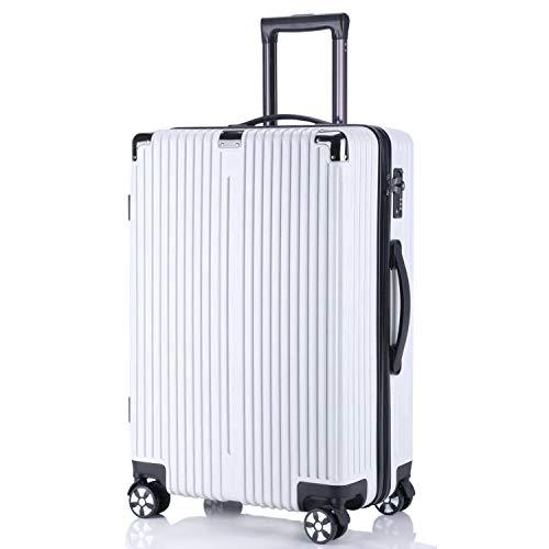 レーズ(Reezu) スーツケース ファスナー 軽量 キャリーケース ジッパー 耐衝撃 キャリーケース 機内持込 キャリーバッグ 人気 大型 TSAロック付 静音 旅行出張 1年保証 アップグレード版 ホワイト White Mサイズ 約63L