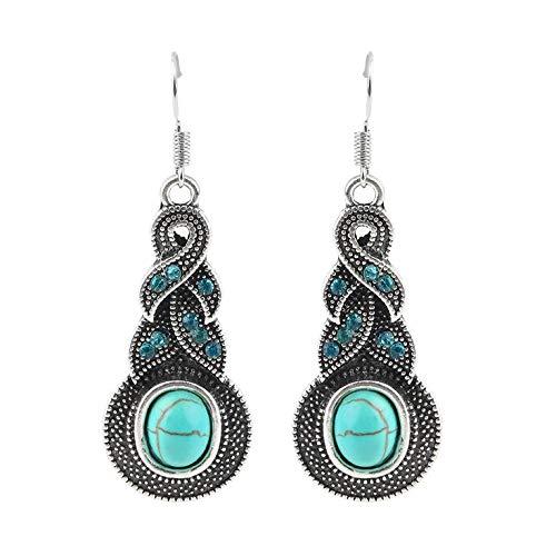 #N/V 1 par de pendientes colgantes para mujer, estilo vintage, con cuentas de cristal turquesa