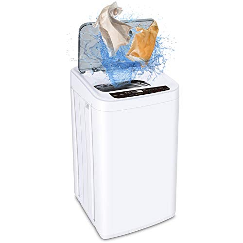 MOOSOO Full-Automatic Washing Machine 0.84 cu.ft/6.6 lbs Portable Compact 2 in 1 Laundry Washer with Drain Pump,8 Programs 3 Water Level,24h Smart Delay Washing with LED Display