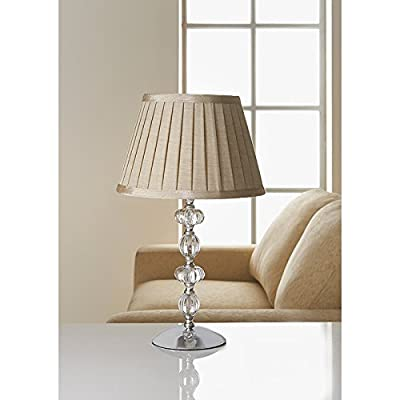 Vintage Georgia Glass Ball Complete Table Lamp & Shade - Beige
