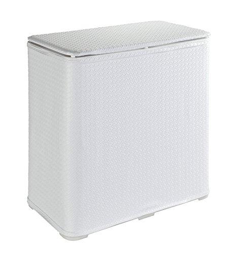 WENKO 62012100 Wäschetruhe Wanda, Wäschekorb mit Deckel Fassungsvermögen: 65 l, Kunststoff, 49 x 50 x 27 cm, Weiß