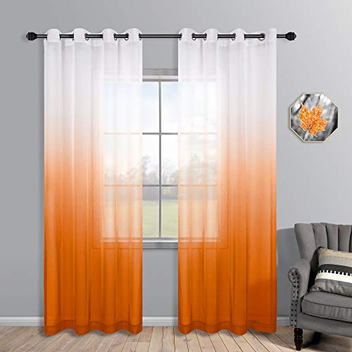 Orange Curtains 95 Inches Long for Living Room Set of 2 Panels Grommet Faux Linen Semi Sheer Ombre Orange Curtains for Bedroom 52x95 Inch Length
