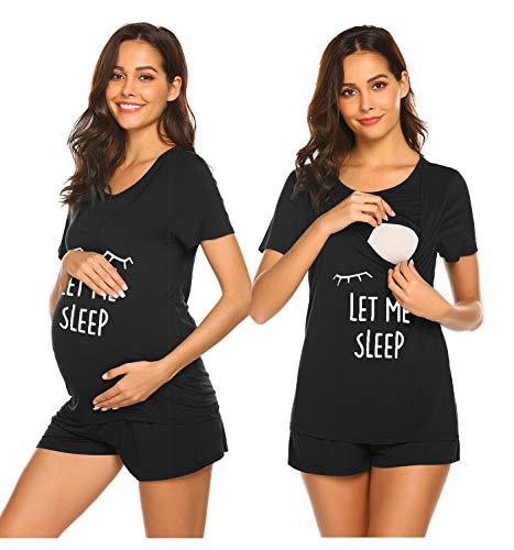 Ekouaer Labor/Delivery/Nursing Maternity Pajamas Set for Hospital Home, Basic Nursing Shirt, Adjustable Size Pregnancy Shorts