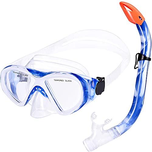 KUSTAR Schnorchelset Kinder, Taucherbrille wasserdicht Anti-Fog 180° Panorama Sichtfeld mit Schnorchel,Tauchmaske Anti-Leck für Kinder 5 bis 12 Jahre (Blau)