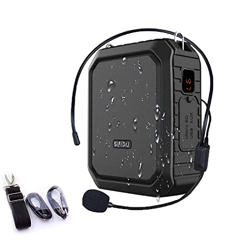 SHIDU Amplificador de voz portátil, amplificador de voz personal de 18 W con micrófono con cable, auriculares, altavoz Bluetooth impermeable para exteriores, profesores, guía turístico