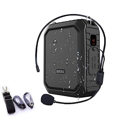 SHIDU Amplificatore vocale Bluetooth18 W con cuffia per microfono cablata Altoparlante portatile impermeabile Batteria ricaricabile Sistema di alimentazione PA per esterni, Insegnanti, Doccia,Spiaggia