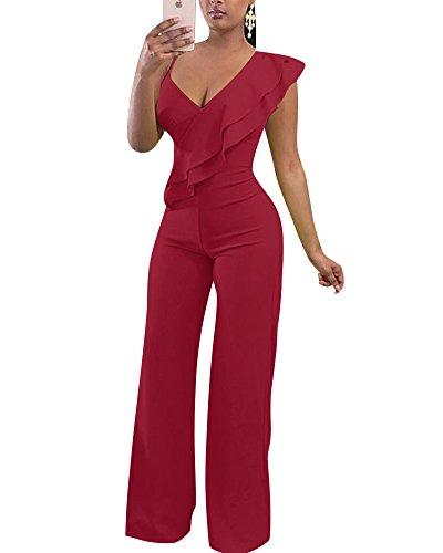 Mono Jumpsuit Escotado V-Cuello Cintura Alta Pantalones Anchos Trajes Largo para Mujer Vino Rojo M