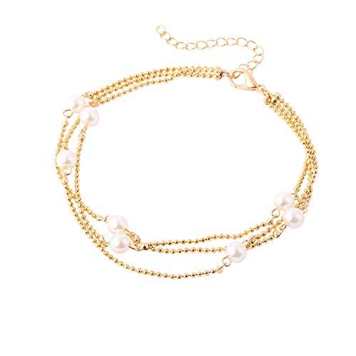 KnSam Pulsera Plata Vieja Mujer Pulsera Tobillera Perla de Múltiples Capas Pulsera Mujer Plata Acero Inoxidable Oro