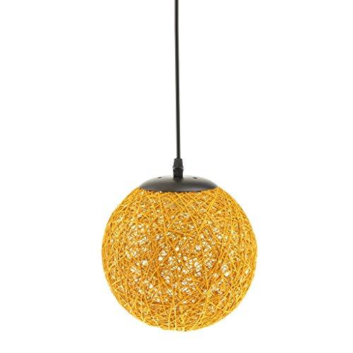 Lámpara de Techo Forma de Bola de Tela Tejida de Mimbre Luz Colgante Interior 20CM Decoración de Cafetería de Restaurante de Hogar - A