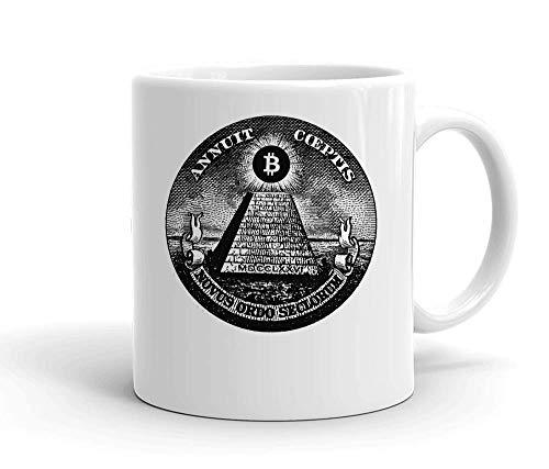 IDcommerce Bitcoin Illuminati Pyramid Tasse en Céramique Blanche pour Le Thé Et Le Café