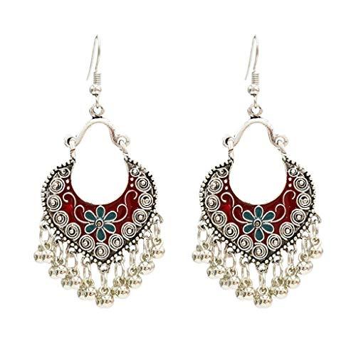 KOFUN Pendientes bohemios antiguos de plata hueca, pendientes tibetanos de estilo gitano, color rojo