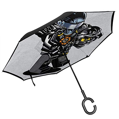G Ich Joe Ninjago Cole Double Layer Inverted Umbrella für Auto Reverse Folding Upside Down C-förmige Hände Lightweight Windproof