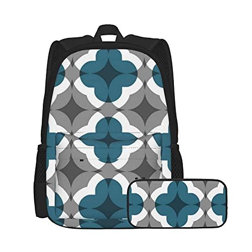 Conjunto de mochila y estuche para lápices, combinación, mochila de trabajo y estudio y bolsa de cosméticos, diseño abstracto floral trébol en color verde azulado y gris