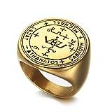 Boansi - Anello da uomo in acciaio inox con amuleto semplice Arcangelo Salomone e Acciaio inossidabile, 54 (17.2), colore: Oro, cod. ENHuayifuz-RAW0011-Gold-7