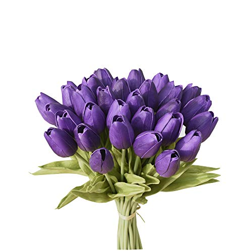 Mandy's 28pcs Purple 14' Artificial Latex Tulips Flowers for Party Home Decoration(Vase not Include)