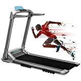 OVICX Q2S Folding Portable Manual Treadmill Compact Walking Running Machine for Home Gym Workout Electric Treadmills with LED Display Device Holder Treadmills for Small Spaces