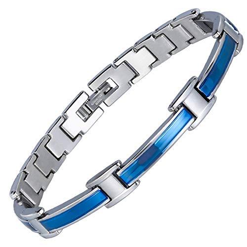 HXML Magnetarmband,Männer/Damen Edelstahl Energie Armband Mode Gesundheit FIR Armreif Magnetische Schmuck Armbänder Hologramm Armband MitEntfernenWerkzeug -Blau |Schwarz,Blue